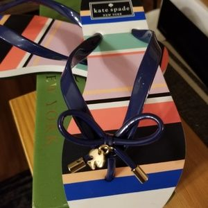 NWT Kate Spade navy and striped flip flop